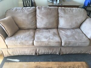 Brown microfibre couch and loveseat