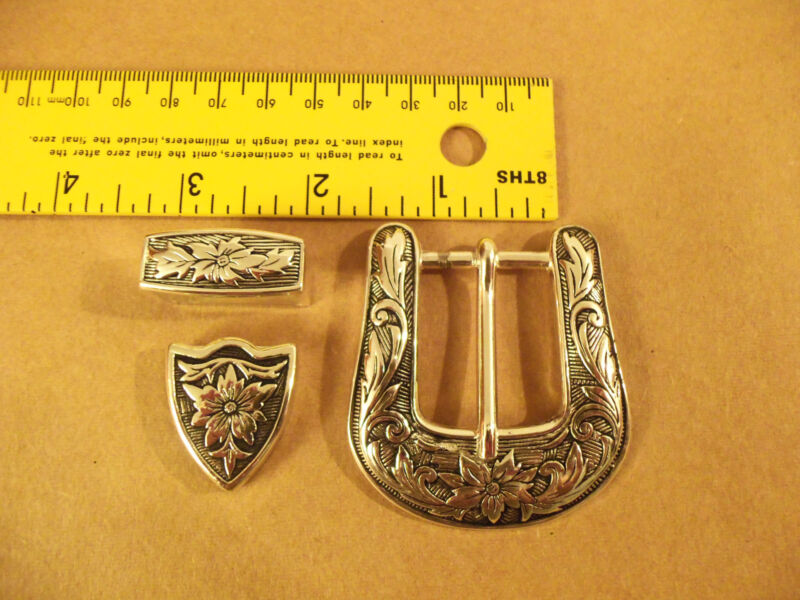 """1"""" Antique Silver Plated Western Floral Buckle Set"""