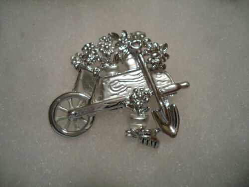 AJC vintage/nos silver tone Flower Cart supply pin