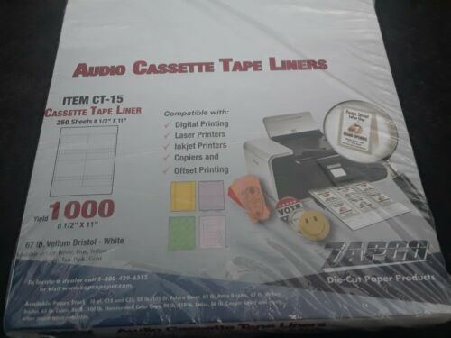 100 J-CARDS-BRAND NEW BLANK INLAY COVERS FOR CASSETTE TAPES-(25 SHEETS)