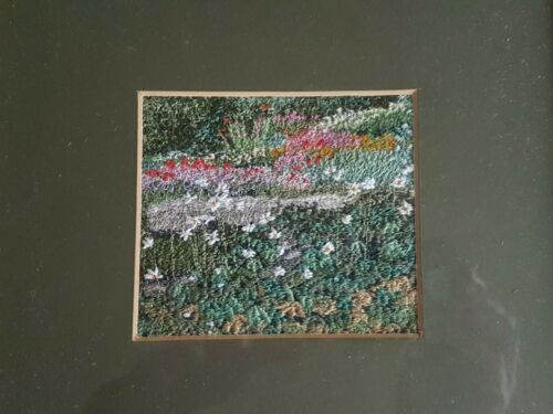 """Needle art. Embroidery picture framed """"Garden"""" Acclaimed artist Sue Lancaster"""