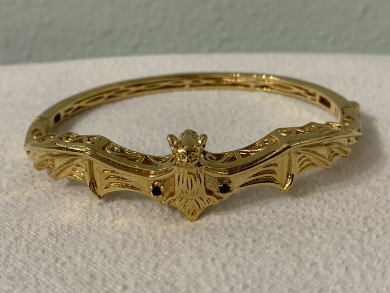 Gold Tone BAT BANGLE BRACELET STRETCHED WINGS Hinged 2 Stones Signed Karis STS