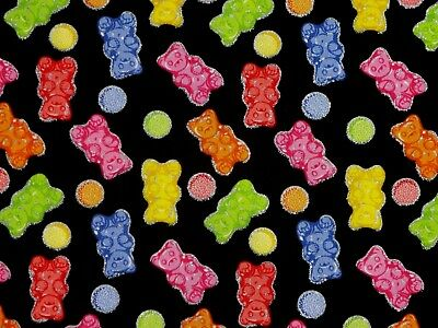 GUMMI BEARS FABRIC TRADITIONS SILVER METALLIC CANDIES COTTON HARIBO  BY THE YARD](Haribo Gummi Bears)