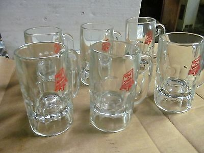 """(6) Dog 'N' Suds Sign Heavy Glass Crystal Root Beer Mugs, 5-1/2"""" Tall, 9 OZ."""