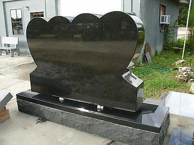 Cemetery Headstone Double Heart with Base - Black Granite