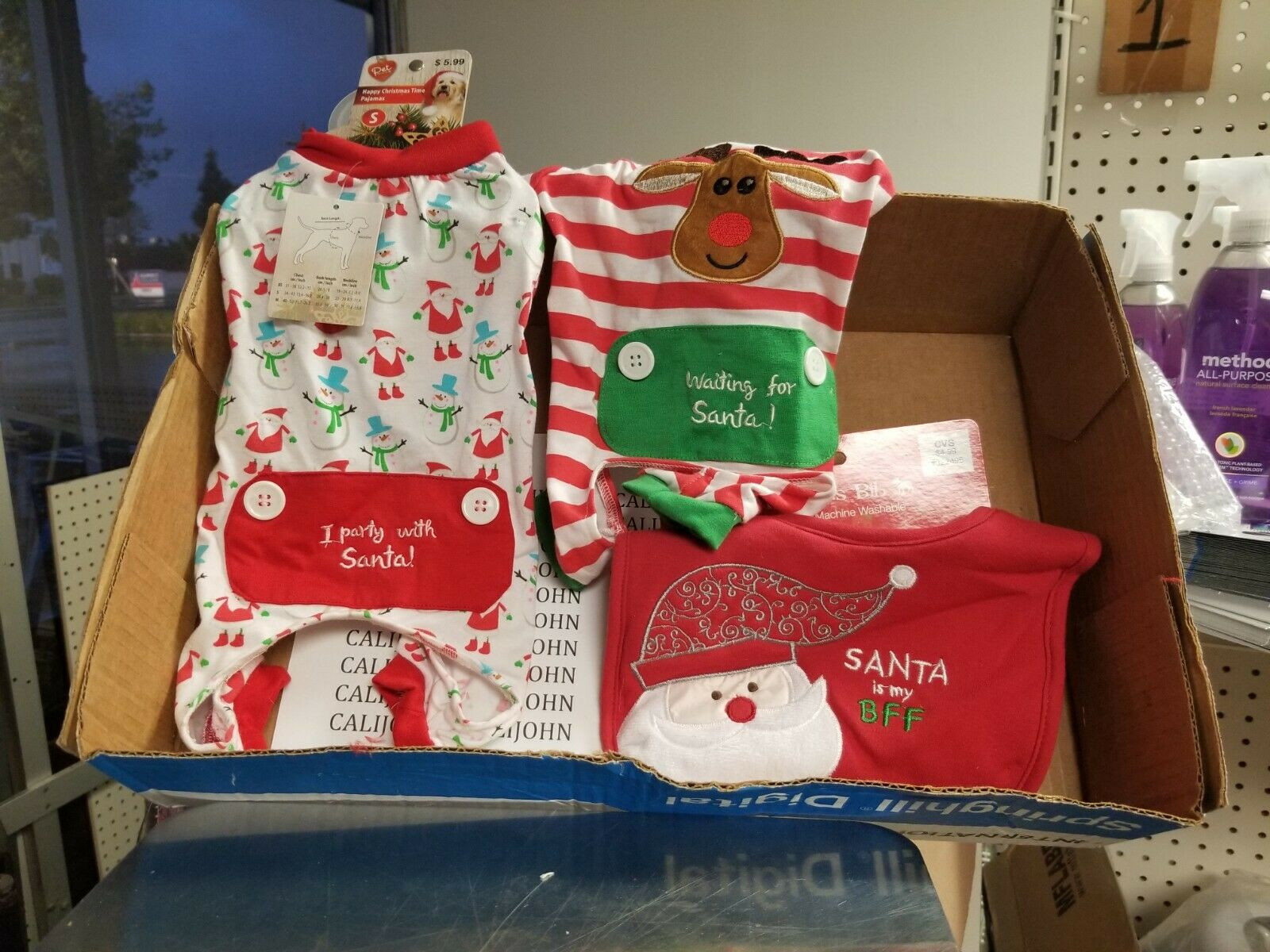 3 Pack for Small dog:2 pajamas and Bib Christmas Frenchie &