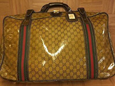 VTG GUCCI GG Logo Monogram Brown Leather Carry On Travel Luggage Bag Italy