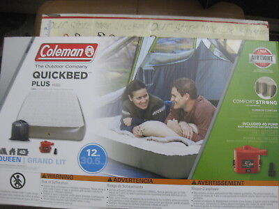 NIB Coleman QUEEN SIZE Comfort Strong 12-in Height Airbed with Portable Pump