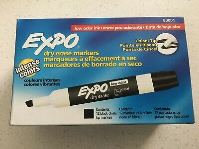 Expo Low Odor Chisel Tip Dry Erase Markers Black 12 Pack 80001