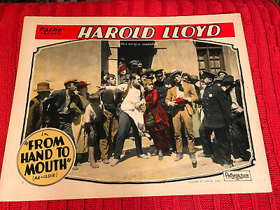 From Hand To Mouth 1920'sRR Pathe silent comedy lobby card Harold Lloyd Mildred