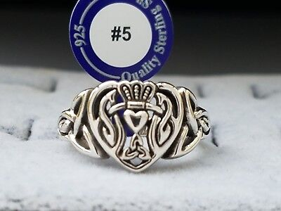 Celtic Claddagh Triquetra Heart Sterling Silver Ring Peter Stone Fine jewelry !