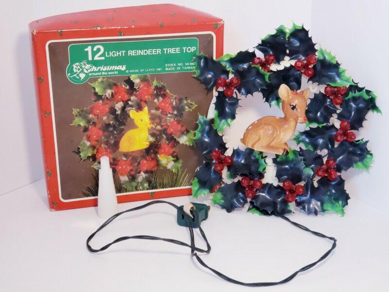Vintage 1987 REINDEER HOLLY LEAVES  Tree Top Tree Topper Christmas 12 light