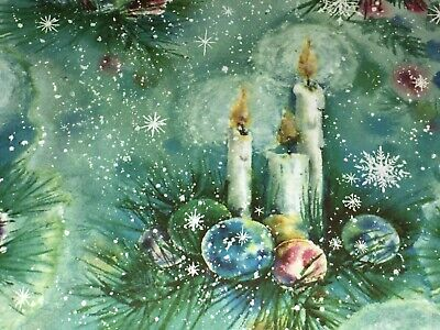 VTG CHRISTMAS HALLMARK WRAPPING PAPER GIFT WRAP CANDLES ORNAMENTS ON TEAL NOS
