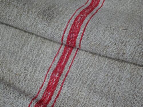 Antique European Feed Sack GRAIN SACK Red Stripe # 9648