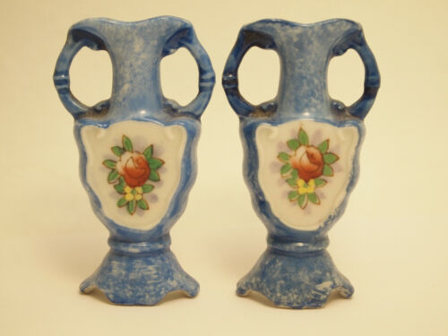 """2pc H. Kato Miniature Blue Floral Wall Pocket Hang Vases Occupied Japan 2-1/2"""""""