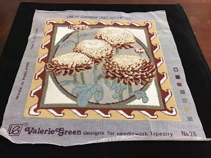 "Needlept Decostitch Vintage Completed V Green ""Chrysanthemums #28"" 15X15 (#350)"