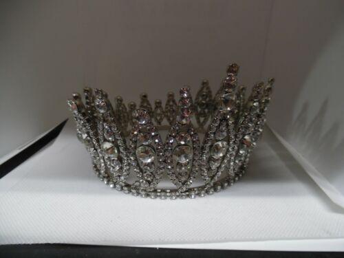 "Vintage heavy rhinestone pageant tiara oval design circle -3½"" high"