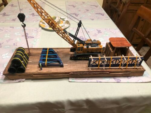 O scale /S scale-  crane barge with crane , scratch built layout ready