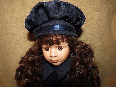 "Lovely Porcelain Doll 16"" in Victorian Navy Blue Coat & Hat/Reddish Brown Hair &"