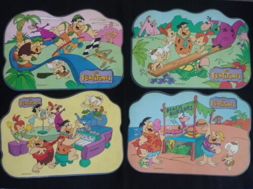 Vintage 1990 The Flintstones Laminated Place Mats with Activities - Set of 7