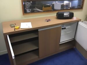 Office cabinet with built in bar fridge