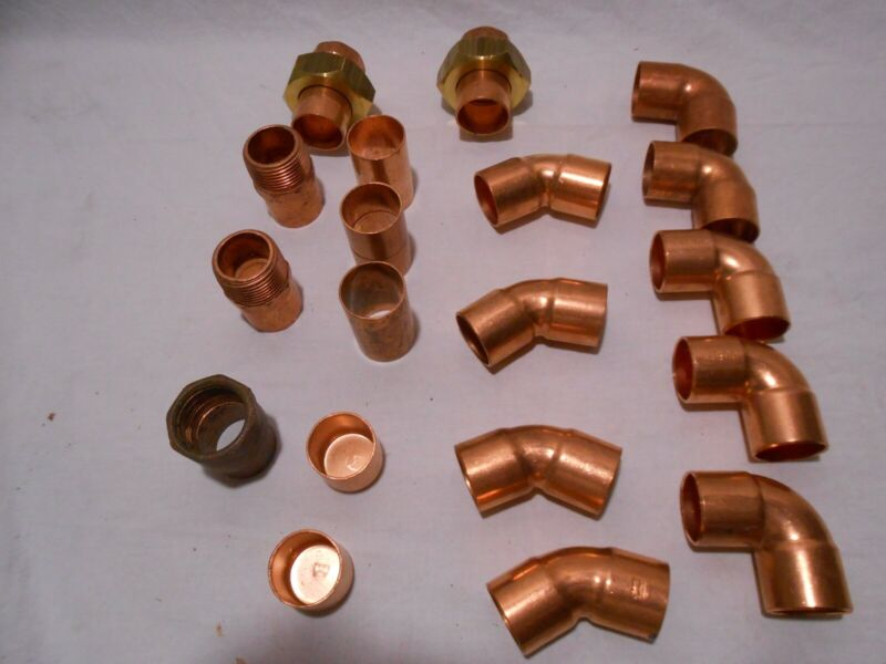 "19 Copper 1"" (1 1/8"" od)  Fittings Unions,90"