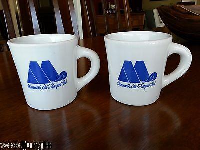 2 Vintage CHEFSWARE  MAMMOTH SKI RESORT & RACQUET CLUB COFFEE MUGS RETRO DINER