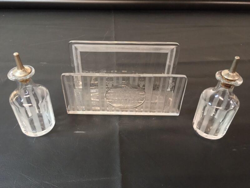 Vtg Art Deco Etched Glass Cruet Vinegar & Oil  W/ Matching Napkin Holder