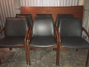 Mid century modern Danish Teak and Leather dining chairs