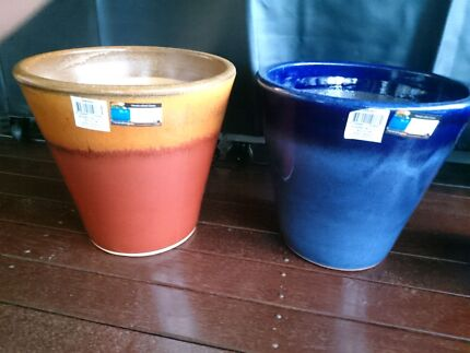 GLAZED TERRACOTTA LILY POTS  Wavell Heights Brisbane North East Preview