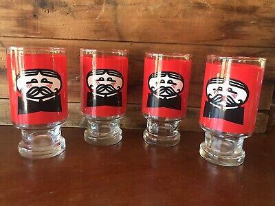 Set of 4 VTG Drinking Glasses 1970s Pringles Potato Chips Pedestal Advertisement