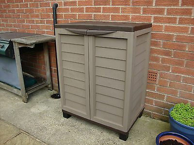 PLASTIC GARDEN STORAGE UTILITY BOX WITH 2 MOVEABLE SHELVES FREE DELIVERY