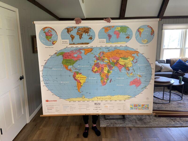 "VINTAGE - World School Pull Down Map - 64"" x 58"""