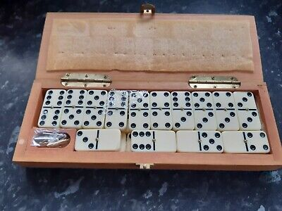 DOMINOES SET IN CRIBBAGE BOARD BOX BEAUTIFUL WOOD double six set spinners