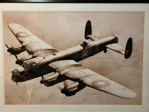 Royal Air Force Lancaster Bomber Mated and Framed Photograph