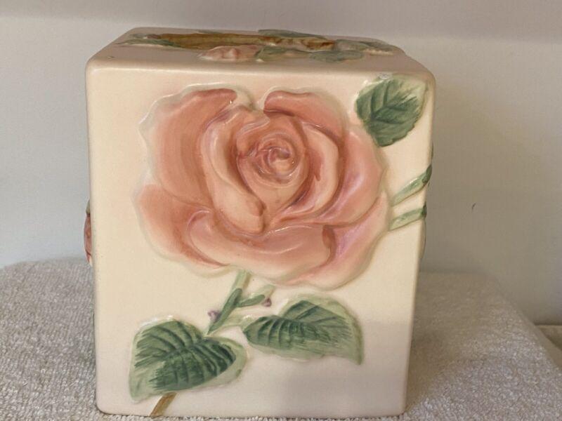 Fitz & Floyd 1987 Porcelain Rose Tissue Box Cover-Up