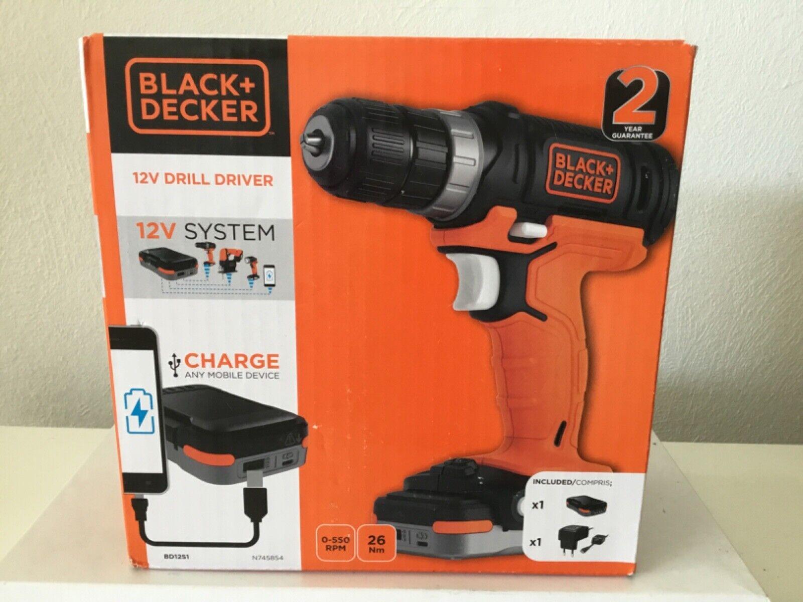 1,5Ah Li Akku-Bohrschrauber mit USB Akku Akkuschrauber Black /& Decker 12V