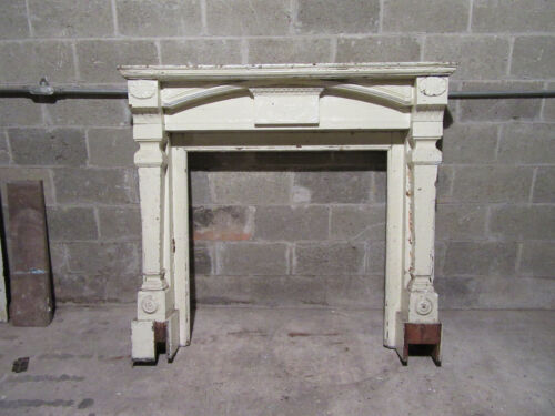 ~ ANTIQUE CARVED FIREPLACE MANTEL 1/4 SAWN OAK ~ 55 X 50 ~ ARCHITECTURAL SALVAGE