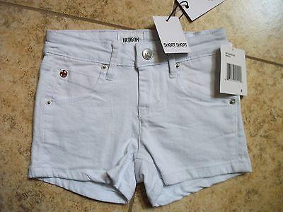 Sz 8 10 New Hudson Girls Children's Kids Jeans  Short Shorts White Wash NWT