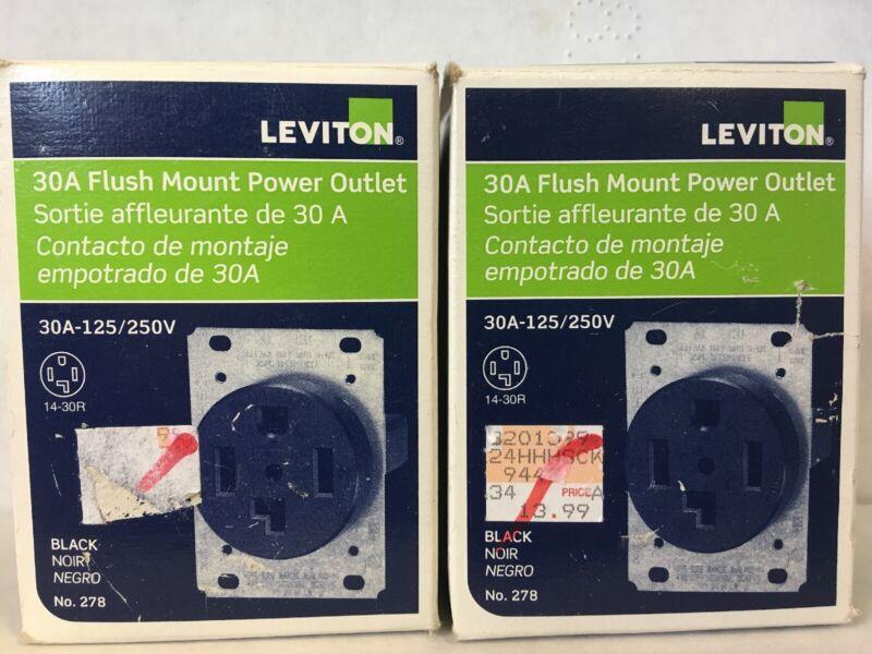 2- Leviton 278 3P 4W Grounding Power Outlet Flush Mount 30A 125/250V - Black -