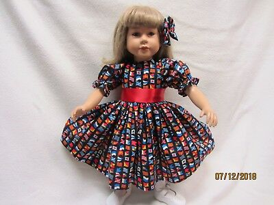 "MY TWINN's NAUTICAL FLAGS dress fits 23"" My Twinn doll & bow barrette"