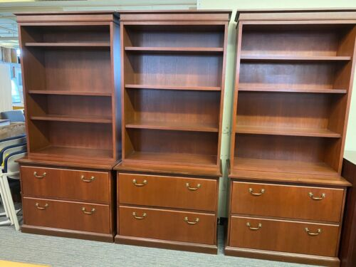 2 DRAWER FILE CABINET w/ HUTCH by STEELCASE OFFICE FURNITURE in CHERRY WOOD