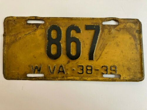 1938 1939 West Virginia License Plate Low Number 3 Digit All Original Paint
