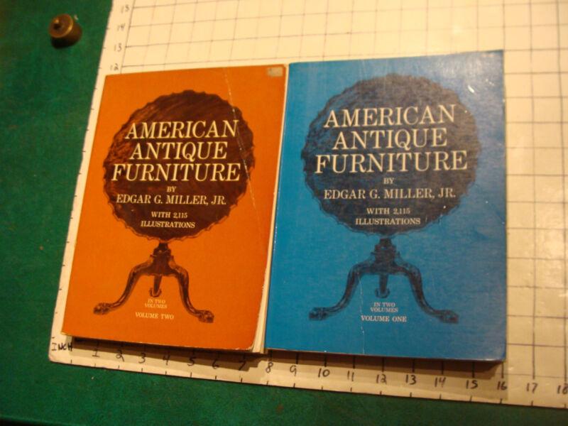 vintage book: 2 vol. AMERICAN ANTIQUE FURNITURE edgar g miller jr. 2115 illustra