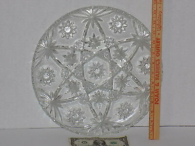 "(Vintage Anchor Hocking 'Star of David' Clear Glass Cake Round Serving Plate 13"")"