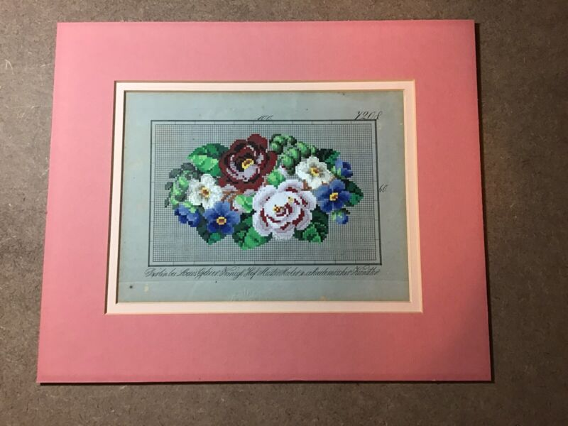 Antique Embroidery Handpainted Gouache Paper Pattern by Louis Gluer Konig, Ger.