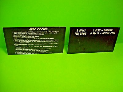 Stern Meteor 1979 Original Pinball Machine Price Card + Instruction Card #2