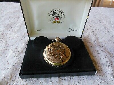 MICKEY & CO COLIBTI MICKEY MOUSE ENGINEER POCKET WATCH SWISS NEW IN BOX