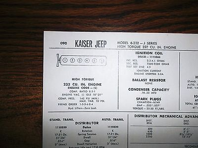 1966 Kaiser Jeep SIX SIX J-Series 6-232 Models Tornado 232 CI L6 Tune Up Chart, used for sale  Manchester