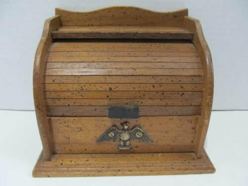 Vintage Americana Eagle Wood Roll Top Recipe Notecard Index Card Box Holder